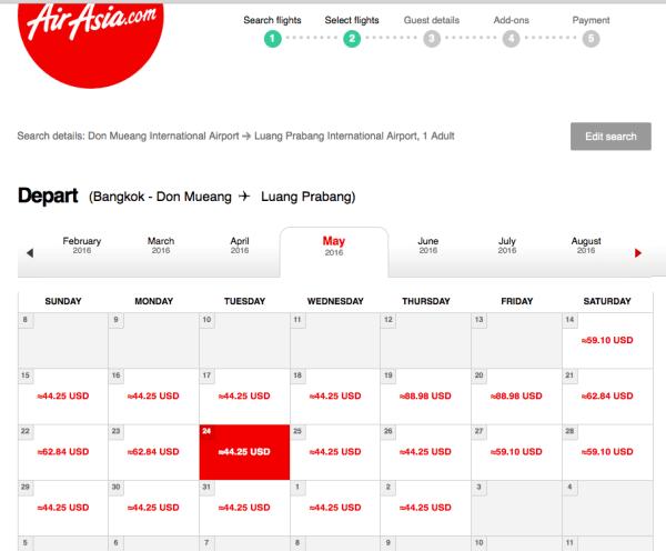 Air Asia Bangkok to Luang Prabang