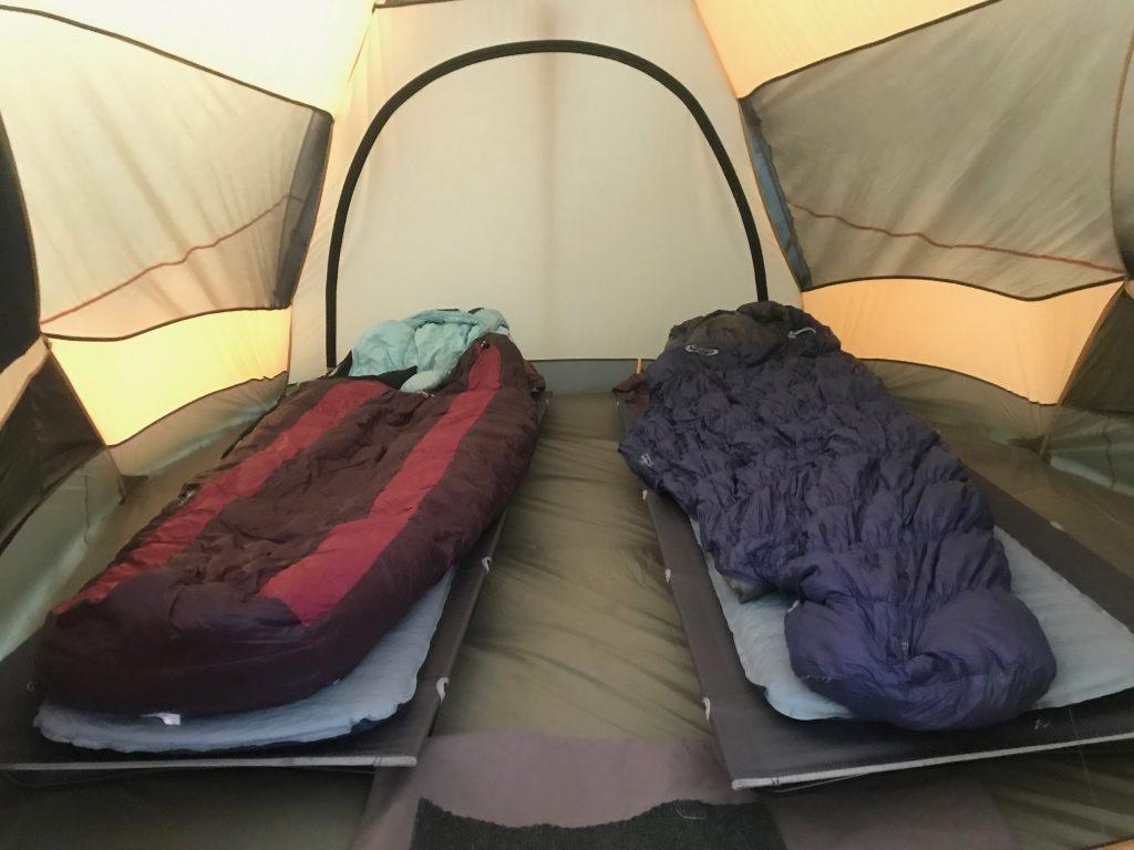 Cots inside tent