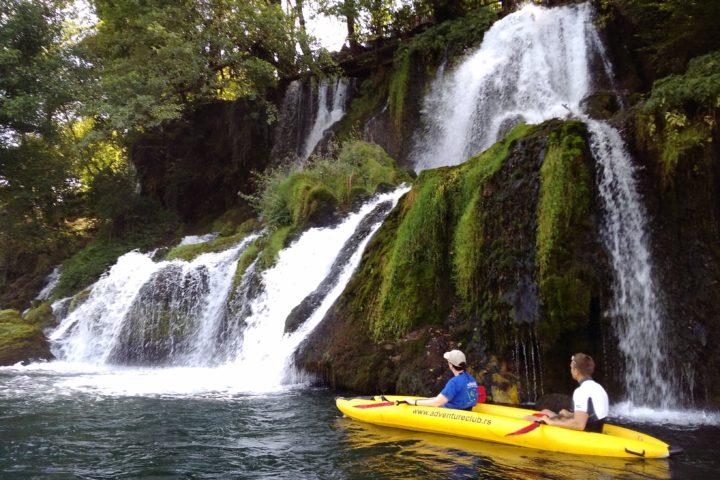 riding a kayak on the Drina