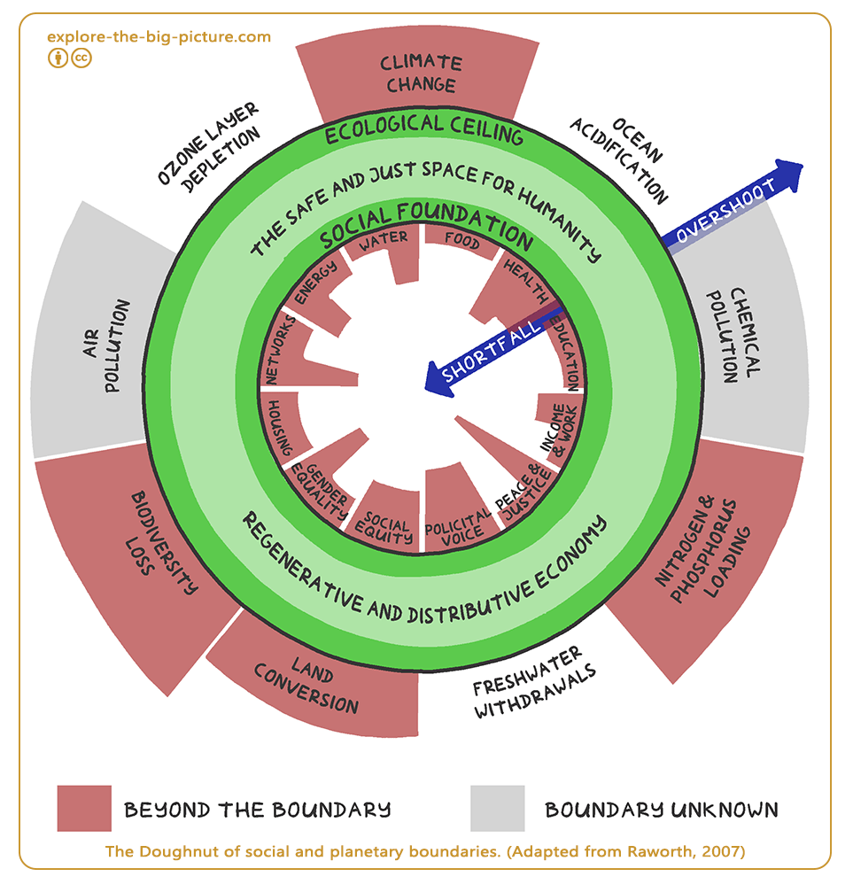 Doughnut Economy of social and planetary boundaries (Adapted from Raworth)
