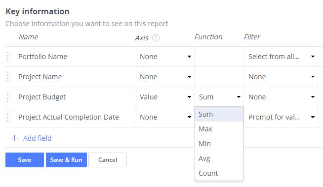 Functions in report designer
