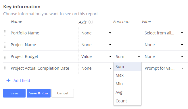 Functions in report designer