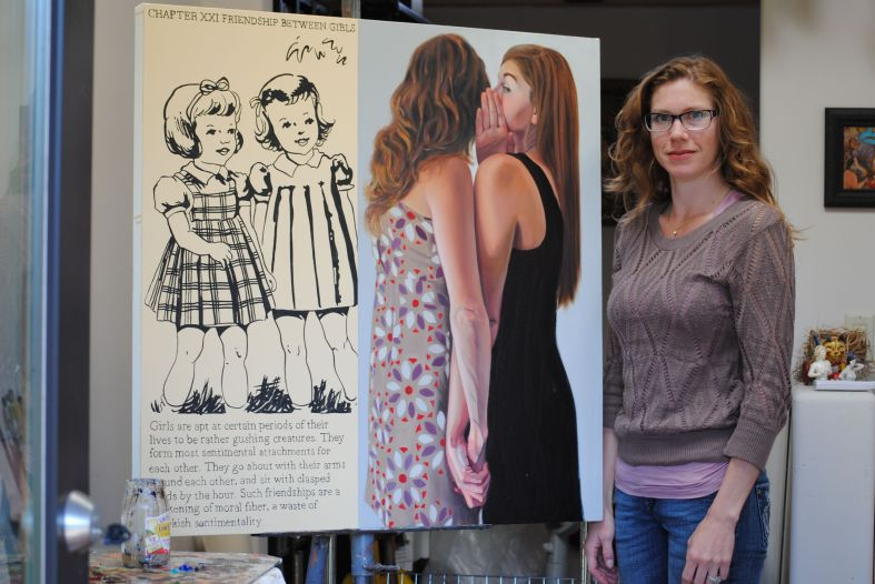 "Forrest Solis in her studio with ""Friendship Between Girls."" That's Forrest with her sister in the painting. Photo by Deborah Ross."