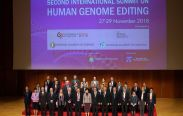 Hong Kong Executive Carrie Lam and guests pose for a group photo during the International Summit on Human Genome Editing in Hong Kong
