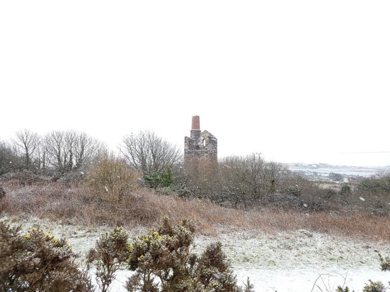 A Snowy Walk From Wheal Uny to Carnkie