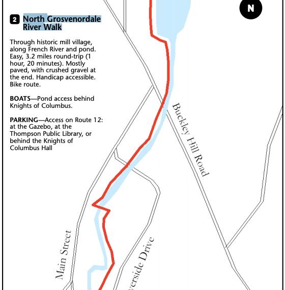 North Grosvenordale River Walk Trail Map
