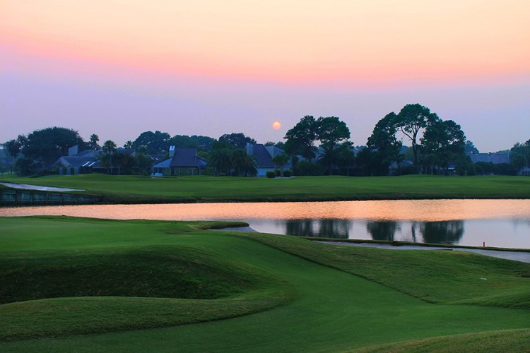 RIver Club Golf Course at Sunset with Lake