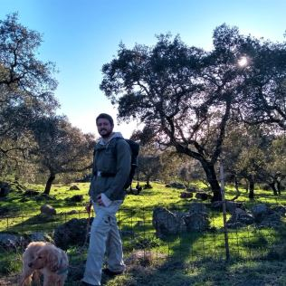 Hiking in mediterranean forest dehesa