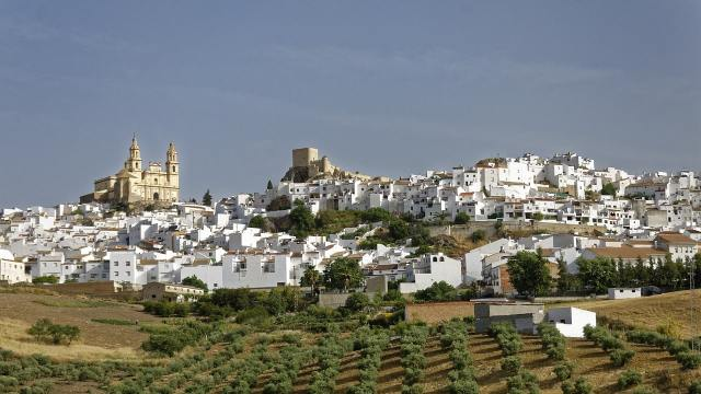 White town of Olvera in Cadiz's mountain system