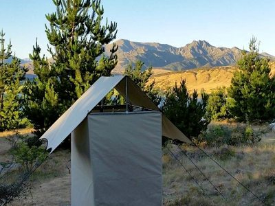 Our awesome shower tent overlooking Mt Gold