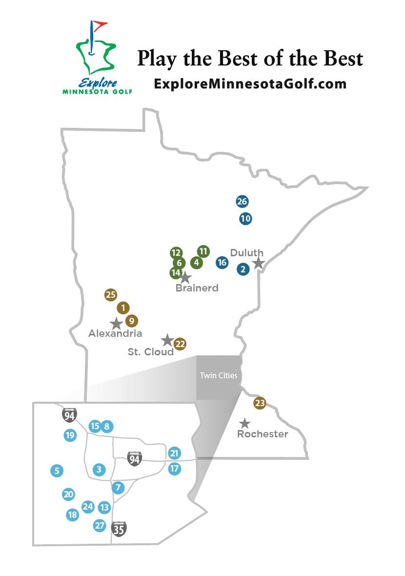 Explore Minnesota Golf Map