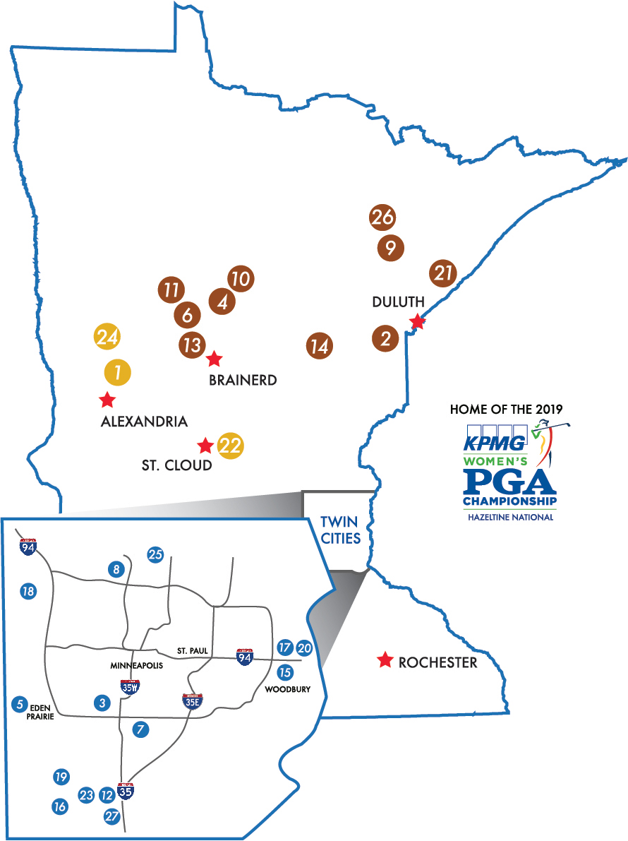 2019 Explore Minnesota Golf Association Map