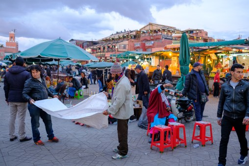 People meet to make music or just for a chat. Djemaa el-Fnaa isn't just popular with the tourists.
