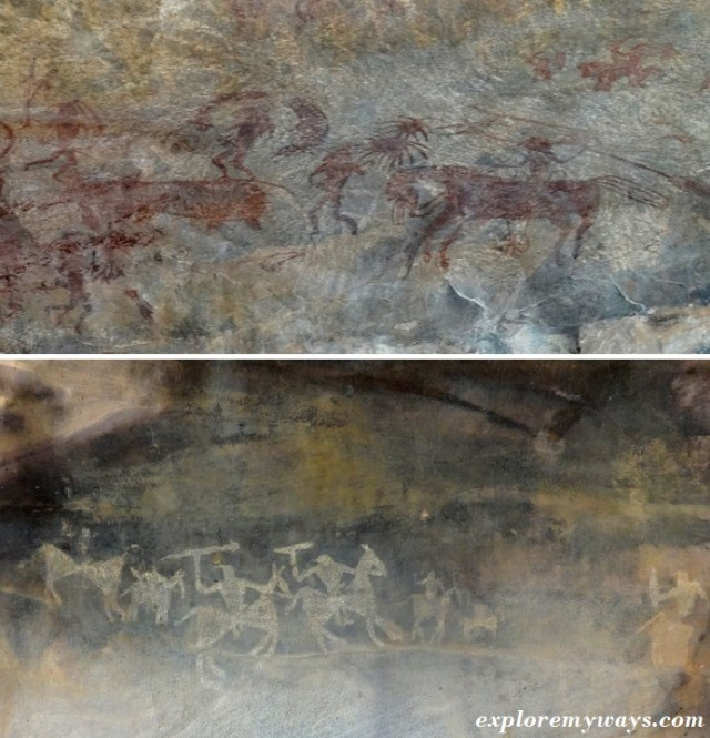 prehistoric rock paintings at bhimbetka rock shelters