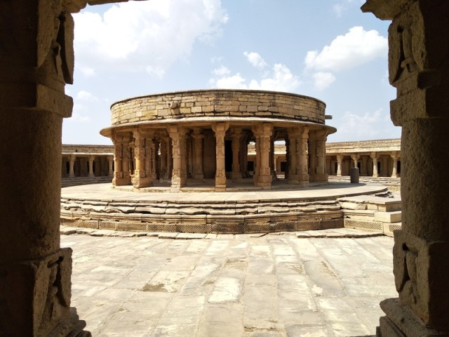 Inside architecture of the ancient 64 Yogini temple, Gwalior