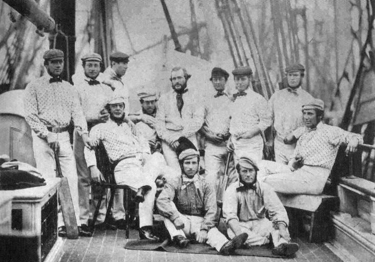 The English team on a ship in Liverpool on their way across the Atlantic