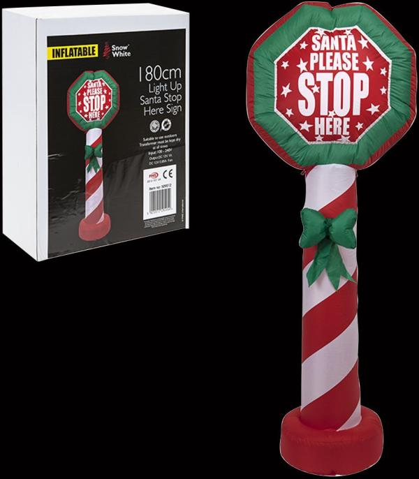 Light-Up Inflatable Santa Stop Here Sign