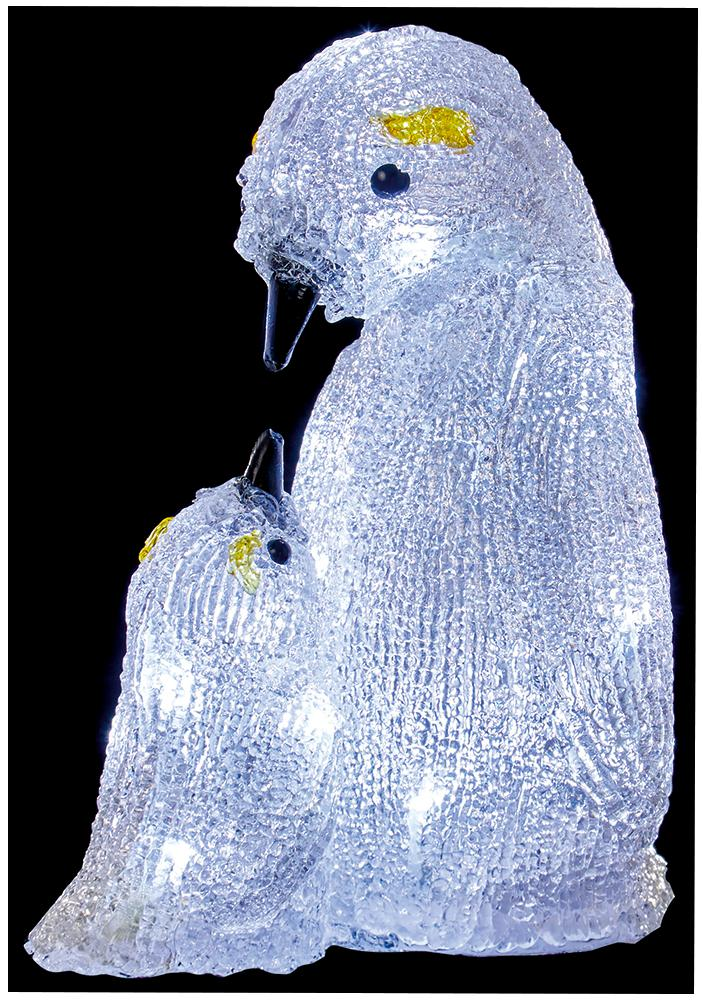 24cm LED Acrylic Mother and Baby Penguin
