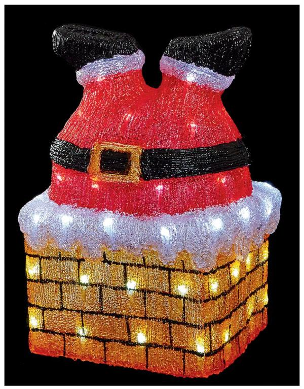 43cm LED Christmas Acrylic 'Santa in Chimney'
