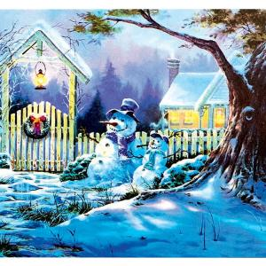LED Snowy House Christmas Scene Canvas 40x30cm