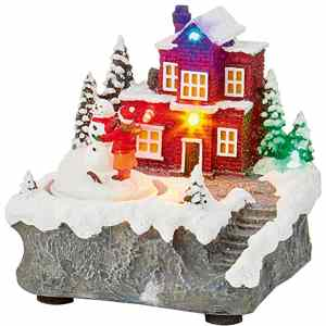LED Light-Up Christmas Shop Scene Ornament – 12cm