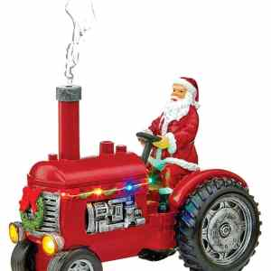 22.5cm Light-Up Santa with Tractor Ornament