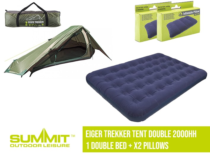 Summit Camping Package 1 – Eiger Trekker Tent Double 2000HH – 1x Double Bed / x2 Pillows