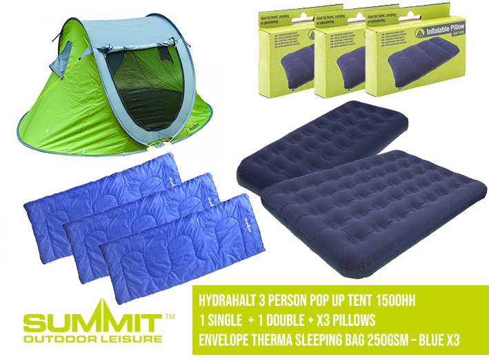 Summit Camping Package 3 – Hydrahalt 3 Person Pop Up Tent 1500HH / 2x Single Bed / x1 Double / 2x P