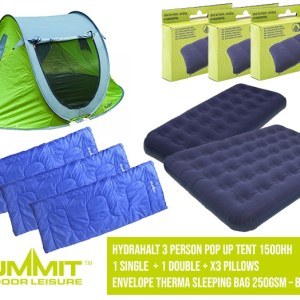 Summit Camping Package 3 – Hydrahalt 3 Person Pop Up Tent 1500HH / 2x Single Bed / x1 Double / 2x Pillows / x3 Envelope Therma Sleeping Bag 250gsm – Blue