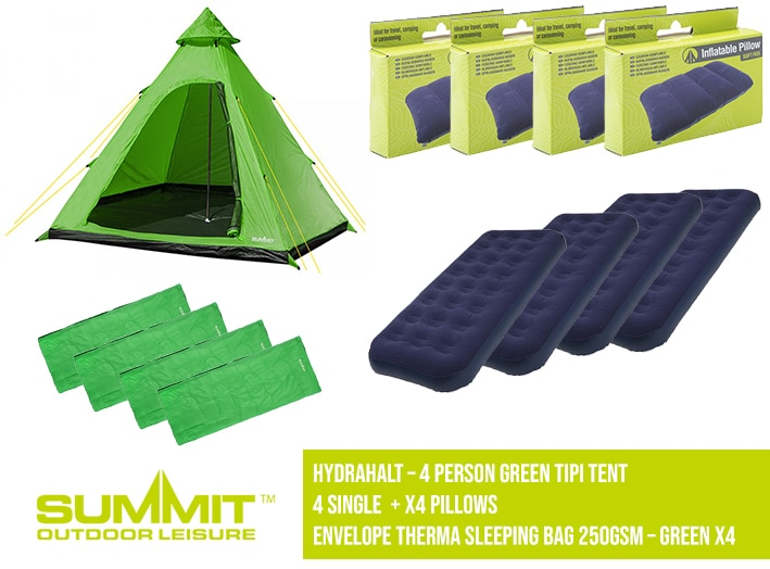 Summit Camping Package 4 – Hydrahalt 4 Person Green Tipi Tent / 4x Single Bed / 4x Pillows / x4 Env