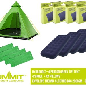 Summit Camping Package 4 – Hydrahalt 4 Person Green Tipi Tent / 4x Single Bed / 4x Pillows / x4 Envelope Therma Sleeping Bag 250gsm – Green