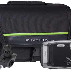 Fujifilm Finepix XP140 16.4MP 5x Zoom Tough Compact Camera, Bicycle Mount, Large Suction Mount & Case – Graphite