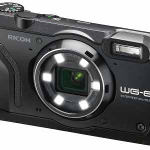 Ricoh WG-6 20MP 5x Zoom Tough Compact Camera, 64GB SD Card & Case – Black