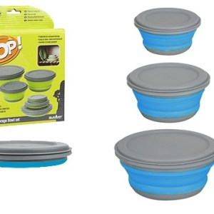 Pop! 3 Piece Collapsible Bowl Set - Blue/Grey