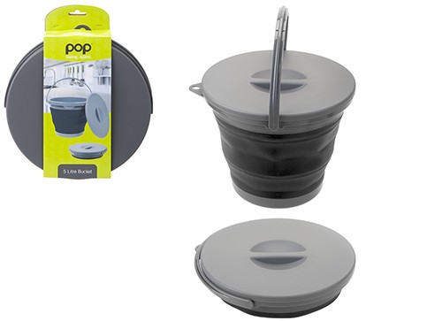 Pop! Collapsible 5L Bucket with Lid – Black/Grey