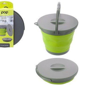 Pop! Collapsible 5L Bucket with Lid - Lime/Grey