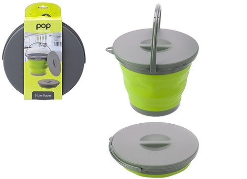 Pop! Collapsible 5L Bucket with Lid – Lime/Grey