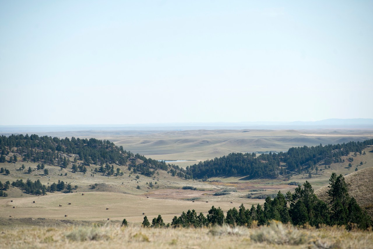 The rolling hills and sparse landscape of central Montana, seen from Dave Crasco's property.