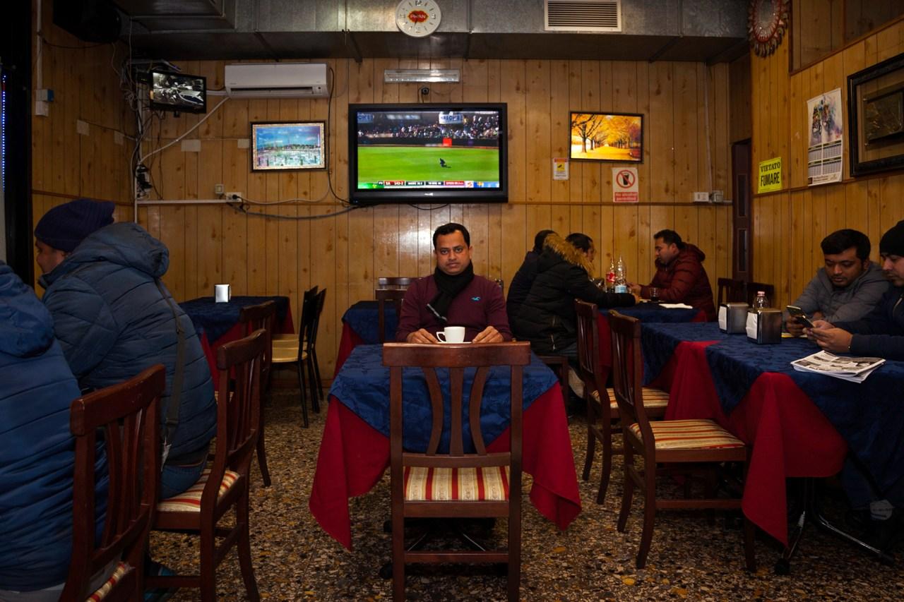 Mohammed Ali poses in his restaurant, Euro Bangla.