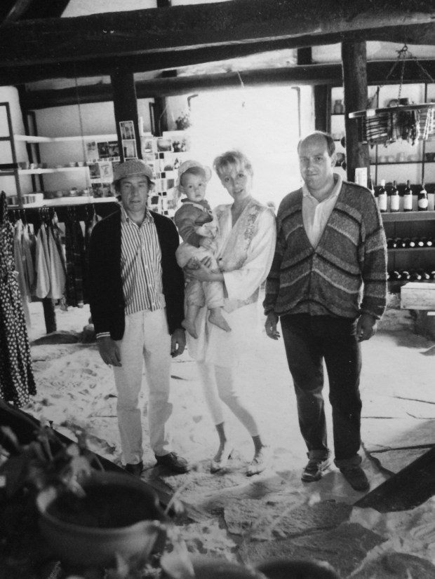 My mother, father (right) and their friend Jim (left) opened a store on Bornholm where they sold vintage wood stoves, garments, jewelry, and wine.