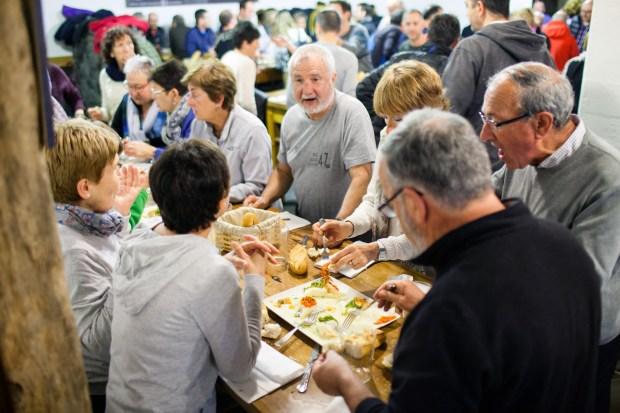 Guests sharing food at Zapiain.