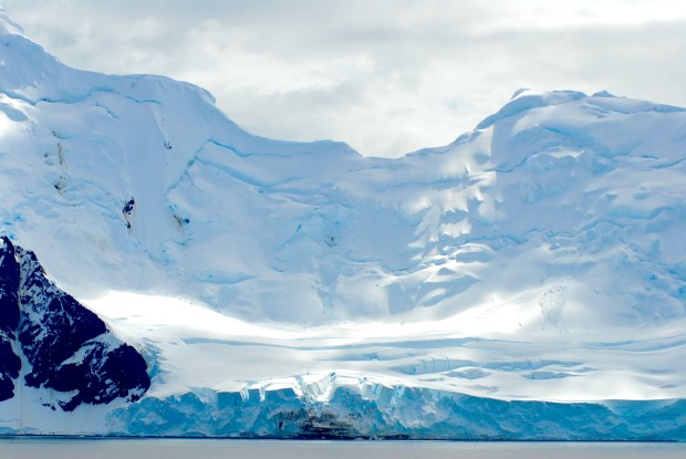 Most of Antarctica is ice-covered. Livingston Island, South Shetland Islands.