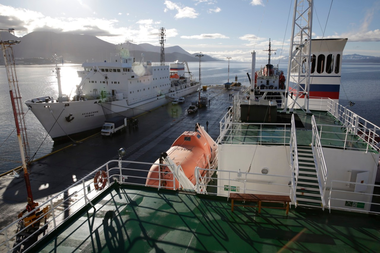 The Akademik Sergei Vavilov and its sister ship at dock in Ushuaia, Argentina, from where the Antarctic Biennale expedition set sail on March 17.