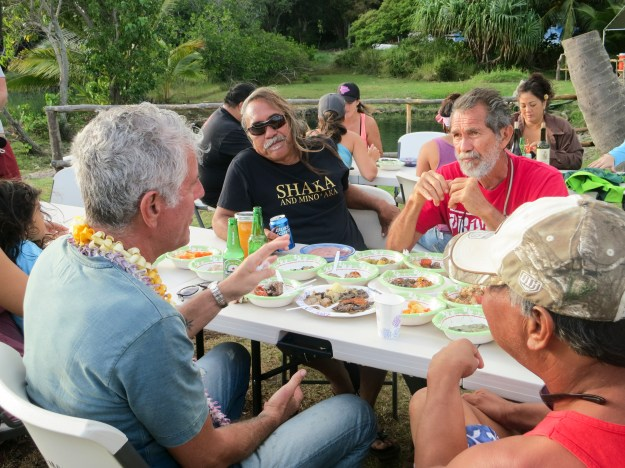 1. Tony has a meal with members of Molokai's community, including outspoken activist Walter Ritte. / 2. Famed producer, manager and agent Shep Gordon has Tony over for breakfast at his home in Maui.