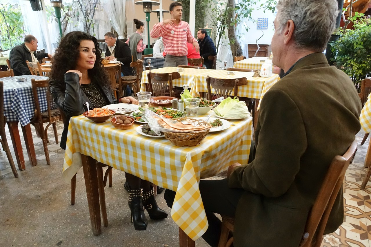 Bourdain dines with Joumana Haddad at Al Falamanki.