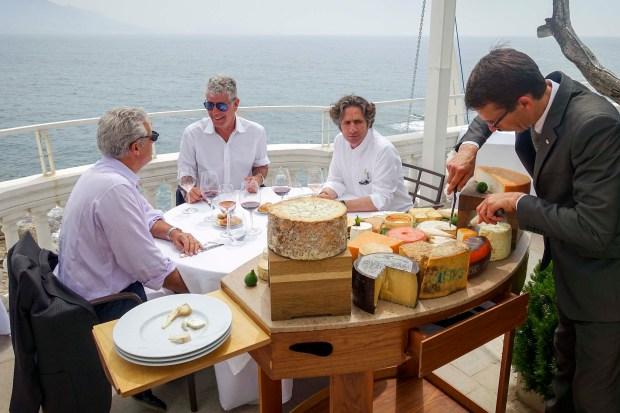 Eric Ripert, Bourdain, and Chef Gerald Passedat at Passerdat's Le Petit Nice.