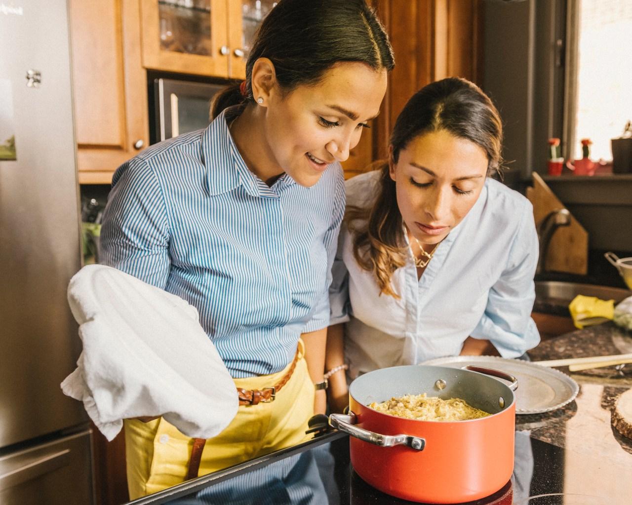 Yeganeh Rezaian and her sister Taraneh Salehi make food at home in Washington, DC.