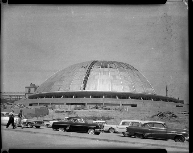 """Construction of The Civic Arena in Pittsburgh's Lower Hill District c. 1960-1961. (Photos by Charles """"Teenie"""" Harris/Carnegie Museum of Art via Getty Images)"""