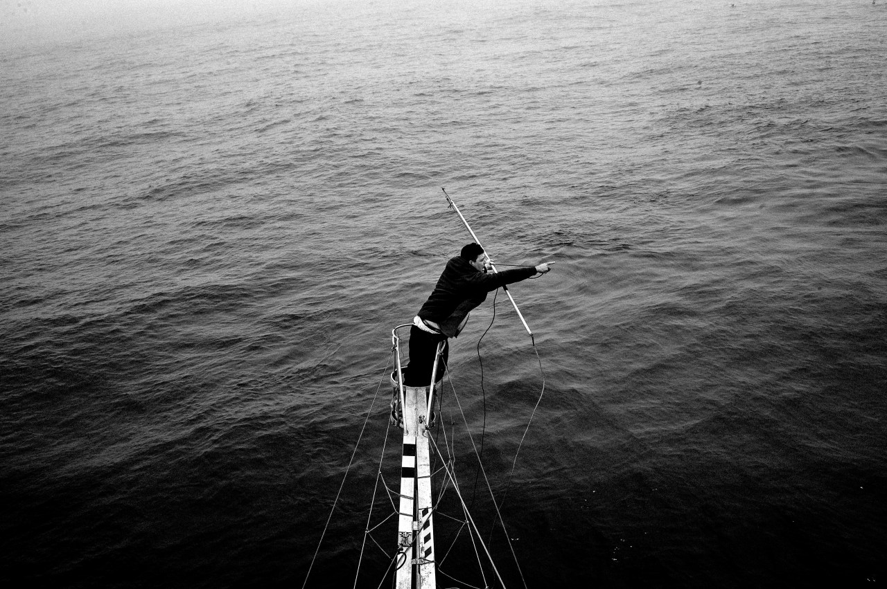 From high above the deck, Hally Henneberry points to the position of a swordfish.