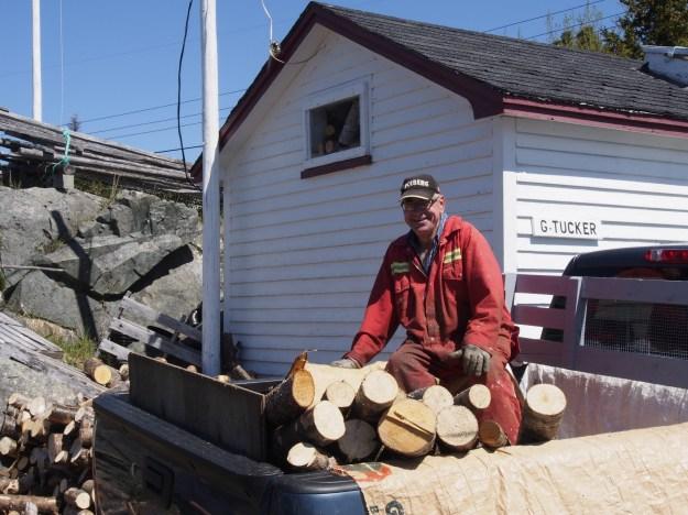 Photo 1: George Tucker unloading wood. Photo 2: Doris Tucker on the swing set after church.